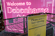 The locked entrance of the closed Debenhams department store in London's Oxford Street as the second lockdown of the Coronavirus pandemic comes to a end, and a day before London enters the Tier 2 restriction when retailers will be allowed to once again re-open for the run-up to Christmas, on 1st December 2020, in London, England. 12,000 jobs are said to be at risk after financial negotiations failed the day after Topshop owner Arcadia fell into administration.