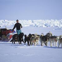 Victor & Ulrik steer thru pressure ice on frozen Arcic Ocean, NWT, Canada.