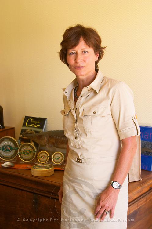 """The owner founder of the sturgeon caviar fish farm Claudia Boucher  """"Caviar et Prestige"""" Saint Sulpice et Cameyrac  Entre-deux-Mers  Bordeaux Gironde Aquitaine France - at Caviar et Prestige"""