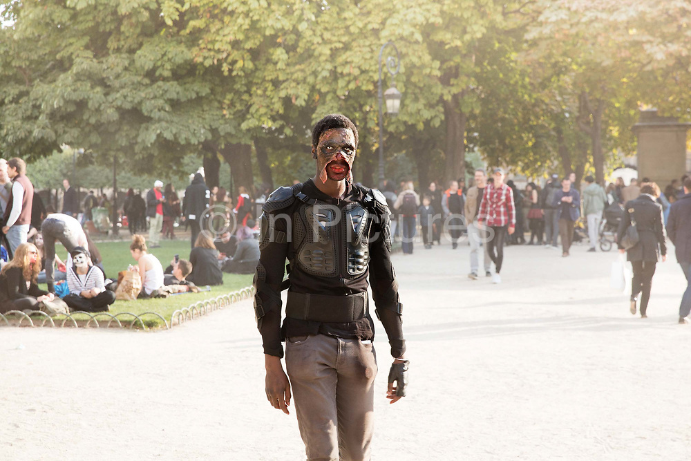 One of 2000 Goules who took part in the Zombie Walk through Paris, 8th October 2016. The walk went from Place de la Republique and finished at Place des Vosges. The event, an apocalyptic parade through Paris's historic downtown. Zombie walks as annual traditions are now relatively common in large cities, especially in North America.