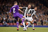Gonzalo HiguaÌn of Juventus and Daniel Carvajal of Real Madrid during the UEFA Champions League Final match between Real Madrid and Juventus at the National Stadium of Wales, Cardiff, Wales on 3 June 2017. Photo by Giuseppe Maffia.<br /> Giuseppe Maffia/UK Sports Pics Ltd/Alterphotos