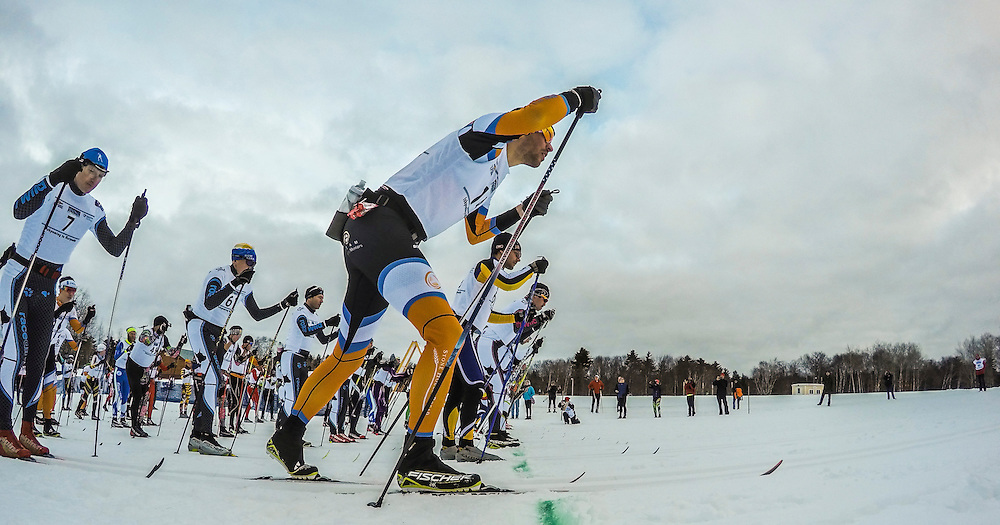 GoPro timelapse image of the start line of the Noquemanon Ski Marathon.