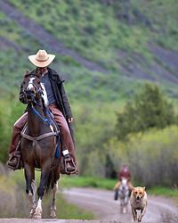 Cowboy and his dog, Swan Valley, Idaho