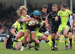 Exeter Chiefs Jack Nowell is tackled by Sale Sharks Ross Harrison during the Aviva Premiership match at Sandy Park, Exeter.