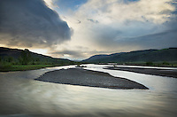 Summer storm over the Lamar River in ther Lamar River Valley, Yellowstone National Park Wyoming
