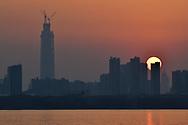 Sunset skyline of Wuhan, East Lake Greenway park, Wuhan, Hubei, China