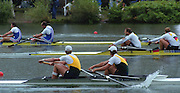 """Lucerne; SWITZERLAND; Men's Pair final. Gold. AUS1. Bow. Matthew LONG and; James TOMKINS. GER2. M2- Bow. Robert SENS and Detlef KIRCHHOFF; FRA M2- Bow Michel ANDRIEUX and; Jean-Christophe ROLLAND. 2000 FISA World Cup; Rotsee Rowing Course; June 2000.; """"Mandatory Credit, Peter Spurrier/Intersport-images""""; . 2000 FISA World Cup, Lucerne, SWITZERLAND"""