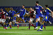 AFC Wimbledon defender Terell Thomas (6) with chance in box during the EFL Trophy match between AFC Wimbledon and U21 Arsenal at Plough Lane, London, United Kingdom on 8 December 2020.