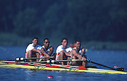 Banyoles, SPAIN, Men's Four, training session using a crossover hand drill, crew: Dirk BALSTER, Matthias UNGEMACH, Markus VOGT and Armin WEYRAUCH. 1992 Olympic Regatta, Lake Banyoles, Barcelona, SPAIN.   [Mandatory Credit: Peter Spurrier: Intersport Images]