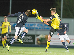 Falkirk's Blair Alston and Livingston Morgan Neill. Falkirk 2 v 0 Livingston, Scottish Championship game played 29/12/2015 at The Falkirk Stadium.