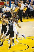 Golden State Warriors forward Draymond Green (23) takes the ball to the basket against the San Antonio Spurs at Oracle Arena in Oakland, Calif., on October 25, 2016. (Stan Olszewski/Special to S.F. Examiner)