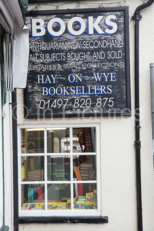 "Famous Hay-on-Wye Booksellers in Hay-on-Wye or Y Gelli Gandryll in Welsh, known as ""the town of books"", is a small town in Powys, Wales famous for it's many second hand and specialist bookshops, although the number has declined sharply in recent years, many becoming general antique shops and similar."