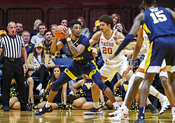 Feb 9, 2019; Morgantown, WV, USA; West Virginia Mountaineers forward Derek Culver (1) attempts to make a move during the first half against the Texas Longhorns at WVU Coliseum. Mandatory Credit: Ben Queen-USA TODAY Sports