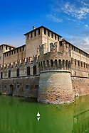 Picture & image of the exterior of the late medieval (13th century) moated urban castle reisdence of Rocca Sanvitale ( Sanvitale Castle ),  Fontanellato, Italy .<br /> <br /> Visit our ITALY PHOTO COLLECTION for more   photos of Italy to download or buy as prints https://funkystock.photoshelter.com/gallery-collection/2b-Pictures-Images-of-Italy-Photos-of-Italian-Historic-Landmark-Sites/C0000qxA2zGFjd_k <br /> If you prefer to buy from our ALAMY PHOTO LIBRARY  Collection visit : https://www.alamy.com/portfolio/paul-williams-funkystock/rocca-sanvitale.html .<br /> <br /> Visit our ITALY HISTORIC PLACES PHOTO COLLECTION for more   photos of Italy to download or buy as prints https://funkystock.photoshelter.com/gallery-collection/2b-Pictures-Images-of-Italy-Photos-of-Italian-Historic-Landmark-Sites/C0000qxA2zGFjd_k<br /> .<br /> <br /> Visit our MEDIEVAL PHOTO COLLECTIONS for more   photos  to download or buy as prints https://funkystock.photoshelter.com/gallery-collection/Medieval-Middle-Ages-Historic-Places-Arcaeological-Sites-Pictures-Images-of/C0000B5ZA54_WD0s