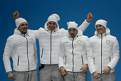 February 18, 2018 - Pyeongchang, South Korea - The Russian cross-country skiing team celebrates winning the silver medal in the Men's 4 x10km Relay event in the PyeongChang Olympic Games. Team members are :.Andrey LARKOV  Alexander BOLSHUNOV  Alexey CHERVOTKIN  Denis SPITSOV (Credit Image: © Christopher Levy via ZUMA Wire)