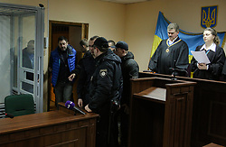 March 26, 2019 - Kiev, Ukraine - Kirill Vyshynski,the Chief of RIA Novosti Ukraine enters the courtroom in Podilsky district court  in Kyiv, Ukraine, March 26, 2019. The court has extended the preventive detention measure until May 24. Vyshinsky was arrested under the suspicion of high treason in May 2018. The investigation believes that the site ''RIA Novosti-Ukraine'' published calls that could harm the sovereignty, territorial integrity and inviolability of Ukraine, state and information security. (Credit Image: © Sergii Kharchenko/NurPhoto via ZUMA Press)