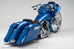 """""""Blew Your Mind"""", a blue bagger built from a 2009 Harley-Davidson Road Glide by James Hines of Bagger Designs in Citrus Heights, CA. Photographed by Michael Lichter during the Easyriders Bike Show in Sacramento, CA on January 9, 2016. ©2016 Michael Lichter."""