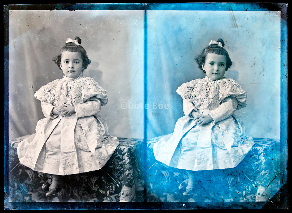 two exposure glass plate with retouched toddler girl portrait France, circa 1930s