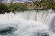 A waterfall on The River Zrmanja one of several Limestone Rivers in Northern Croatia. Part of a story on Croatia's hidden landscape and undiscovered tourism.