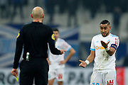 Olympique de Marseille's French forward Dimitri Payet gestures to the referee during the French Championship Ligue 1 football match between Olympique de Marseille and AS Monaco on January 28, 2018 at the Orange Velodrome stadium in Marseille, France - Photo Benjamin Cremel / ProSportsImages / DPPI