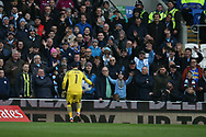 Claudio Bravo, the goalkeeper of Manchester city throws an inflatable beach ball back towards the Man city fans.  The Emirates FA Cup, 4th round match, Cardiff city v Manchester City at the Cardiff City Stadium in Cardiff, South Wales on Sunday 28th January 2018.<br /> pic by Andrew Orchard, Andrew Orchard sports photography.