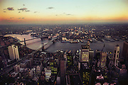 New York from World Trade Center, East river and Brooklyn, with the Brooklyn Bridge. USA.