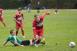 Teddy Bergqvist (FC Helsingør) og Nicolai Brogaard (Bispebjerg Boldklub) under kampen i Sydbank Pokalen, 1. runde, mellem Bispebjerg Boldklub og FC Helsingør den 2. september 2020 i Lersø Parken (Foto: Claus Birch).