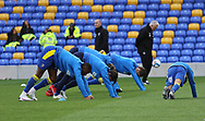 AFC Wimbledon warming up before the EFL Sky Bet League 1 match between AFC Wimbledon and Lincoln City at Plough Lane, London, United Kingdom on 2 January 2021.