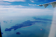 Pang Nga Bay and its strange limestone rock islands seen from a flight from Koh Samui aboard a Bangkok Airways ATR 72 Turboprop.
