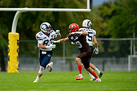 KELOWNA, BC - SEPTEMBER 8:  Cole Stregger #19 of Okanagan Sun blocks Liam STEWART #83 of Langley Rams  at the Apple Bowl on September 8, 2019 in Kelowna, Canada. (Photo by Marissa Baecker/Shoot the Breeze)