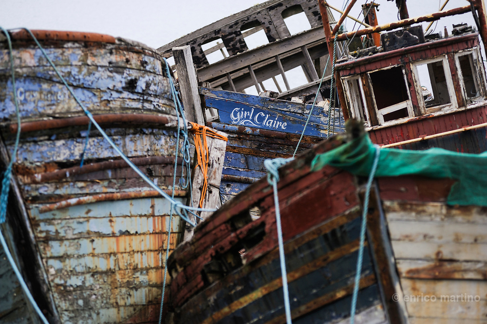 Mull island, wrecks of fishermen boats
