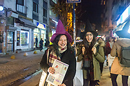 Members of the Kampüs Cadıları (Campus witches) walk to a small demonstration in the Kadıköy district of Istanbul, Turkey, for the upcoming international women's day on March 8th 2018.