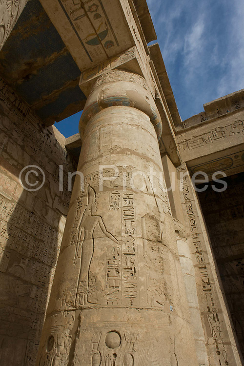 Hieroglyph columns at the ancient Egyptian site of Medinet Habu (1194-1163BC), the Mortuary Temple of Ramesses III in Luxor, Nile Valley, Egypt. Medinet Habu is an important New Kingdom period structure in the West Bank of Luxor in Egypt. Aside from its size and architectural and artistic importance, the temple is probably best known as the source of inscribed reliefs depicting the advent and defeat of the Sea Peoples during the reign of Ramesses III. According to the country's Ministry of Tourism, European visitors to Egypt is down by up to 80% in 2016 from the suspension of flights after the downing of the Russian airliner in Oct 2015. Euro-tourism accounts for 27% of the total flow and in total, tourism accounts for 11.3% of Egypt's GDP.