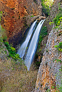 Israel, Golan Heights a flowing waterfall, long exposure