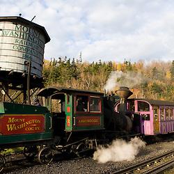 The cog railroad on Mount Washington in Twin Mountain, New Hampshire.  White Mountains.