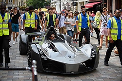 © Licensed to London News Pictures. 04/08/2018. LONDON, UK. A BAC Mono arrives in Covent Garden for Gumball 3000, a charity race for supercars and more.  150 cars will journey from London to Tokyo in a race which commences on Sunday 5 August.  Photo credit: Stephen Chung/LNP