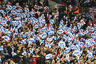 England fans waving flags during the UEFA European 2020 Qualifier match between England and Czech Republic at Wembley Stadium, London, England on 22 March 2019.