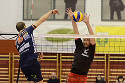 Pokersnik Jan of ACH Volley Ljubljana vs. Urban Drvaric of OK Hoce during volleyball match between ACH Volley Ljubljana and OK Hoce in the half Final of Slovenian Volleyball Cup 2017, on December 22, 2017 in Hoce, Slovenia. Photo by Mario Horvat / Sportida
