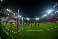 PIRAEUS, GREECE - DECEMBER 09: Fish eye view during the UEFA Champions League Group C stage match between Olympiacos FC and FC Porto at Karaiskakis Stadium on December 9, 2020 in Piraeus, Greece. (Photo by MB Media)