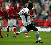 Photo. Chris Ratcliffe<br />Charlton v Fulham. FA Premiership. 11/05/2003<br />Louis Saha scores from the spot as Fulham go 1-0 up at the Valley