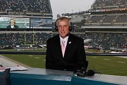 Don Tollefson hosts a half time show during the NFL game between the San Francisco 49ers and the Philadelphia Eagles. The 49ers won 24-23 at Lincoln Financial Field in Philadelphia, Pennsylvania on Sunday, October 2nd 2011. (AP Photo/Brian Garfinkel)