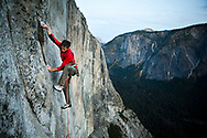 Kevin Jorgeson working on what may become the hardest free climb on El Cap and the world.  The team has been working on the route for over 3 years.