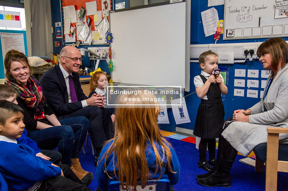 Pictured: John Swinney joined in with the primary ones who invited the Deputy First Minister to attend their nativity play that afternoon.<br /> Today Deputy First Minister John Swinney visited Niddrie Mill Primary School to announce the publication of Scottish school statistics such as teacher numbers, ratios and class sizes. <br /> <br /> <br /> Ger Harley | EEm 12 December 2017