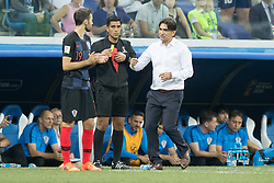 July 1, 2018 - Nizhny Novgorod, Russia - Milan Badelj and coach Zlatko Dalic of Croatiaduring the 2018 FIFA World Cup Russia Round of 16 match between Croatia and Denmark at Nizhny Novgorod Stadium on July 1, 2018 in Nizhny Novgorod, Russia. (Credit Image: © Foto Olimpik/NurPhoto via ZUMA Press)