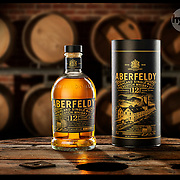 Aberfeldy Scotch Whisky product photography, shoot in the Hype Photography studio by Stuart Freeman Hype Photography