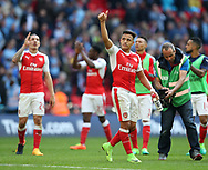 Arsenal's Alexis Sanchez celebrates at the final whistle during the FA Cup Semi Final match at Wembley Stadium, London. Picture date: April 23rd, 2017. Pic credit should read: David Klein/Sportimage