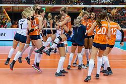 15-10-2018 JPN: World Championship Volleyball Women day 16, Nagoya<br /> Netherlands - USA 3-2 /Lonneke Sloetjes #10 of NetherlandsLaura Dijkema #14 of Netherlands, Myrthe Schoot #9 of Netherlands, Maret Balkestein-Grothues #6 of Netherlands, Nicole Koolhaas #22 of Netherlands, Celeste Plak #4 of Netherlands