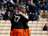 Leon Clarke of Sheffield Utd is mobbed after scoring the second goal during the English League One match at Vale Park Stadium, Port Vale. Picture date: April 14th 2017. Pic credit should read: Simon Bellis/Sportimage