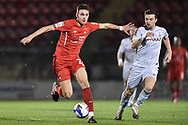 Leyton Orient's Hector Kyprianou(26) and Bradford City forward Kai Brunker (18) battles for possession during the EFL Sky Bet League 2 match between Leyton Orient and Bradford City at the Breyer Group Stadium, London, England on 24 November 2020.