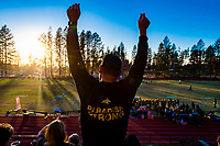 Paradise Bobcats fans cheer from stands as the Paradise Bobcats play the Enterprise Hornets at home, Friday, November 1, 2019.<br /> Photo Brian Baer
